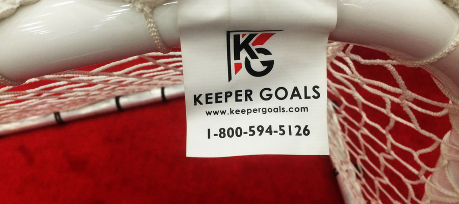 Keeper Goals net label with phone number 800-594-5126.