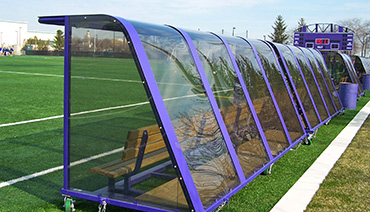 Custom Team Shelters with Wheels and Wooden Benches.