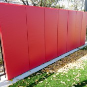 Protective padding for fence at soccer field. Chicago Fire Soccer Center - Keeper Goals
