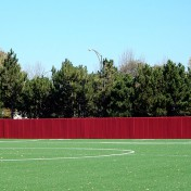 Protective padding for fence at Chicago Fire Soccer Center.