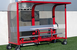 Shelter with Scorer's Table, Wheels, Aluminum bench and Red Frame.