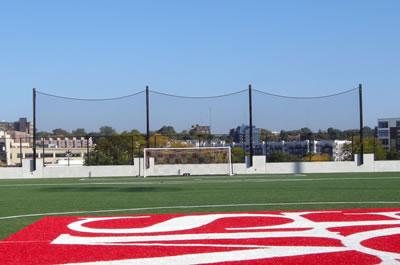 Back-up netting on soccer field.