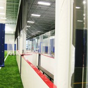Bench area at indoor sports complex.