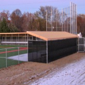 Breitlow Baseball Complex dugout. Black mesh with yellow top.