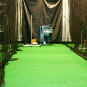 Custom indoor batting cage at indoor sports complex.