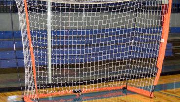 Model #BOWFUTSAL. Portable Bownet Futsal Goal. 3ftx5ft, White Net and Orange Frame.