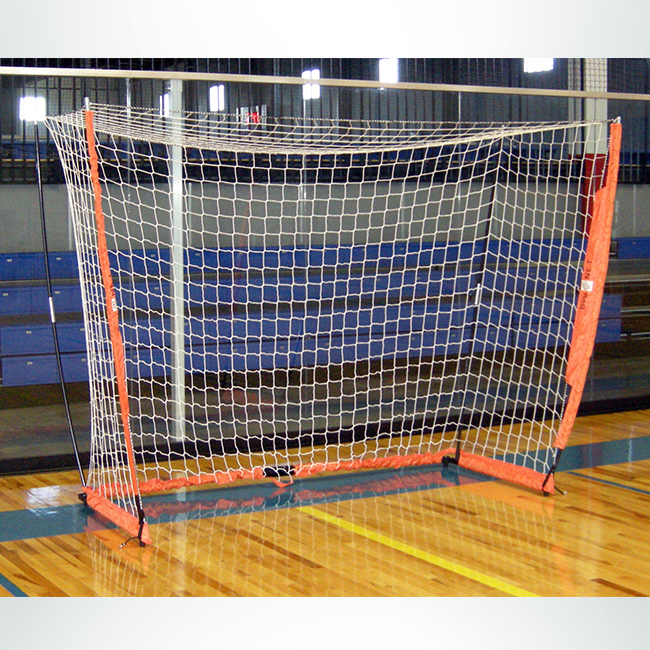 Model #BOWFUTSAL. Portable bownet futsal goal. 3' x 5', white net and orange frame.