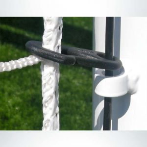 Premium cable net attachment system on soccer goals.