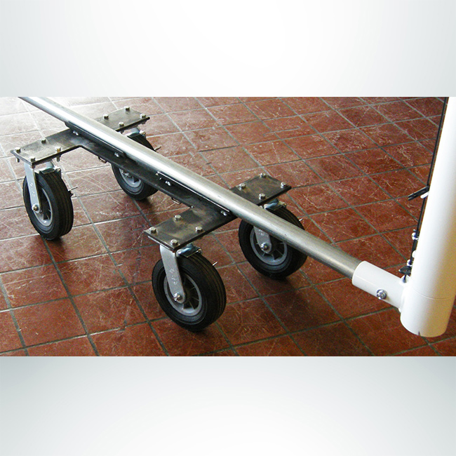 """Model #CMW2RD. Caster dolly wheel kit to move soccer goal with 2"""" base."""