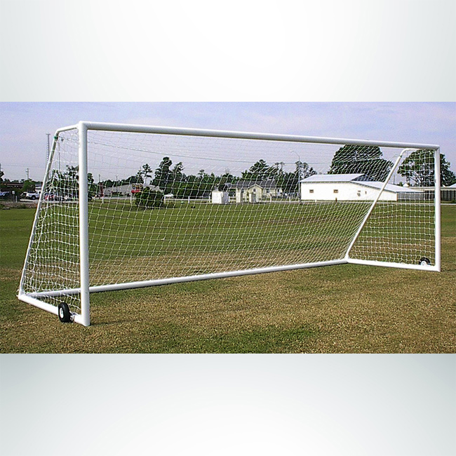 Model #ELITE4EDCHANPW2. 7' x 21' regulation elite soccer goal with wheels and channel net attachment.