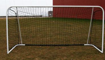 Model #FAS. Futsal steel goal. White frame with black net.