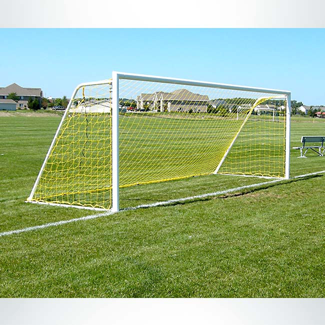 Model #M83RD4. 7'x21' Movable M-Series Steel Soccer Goal with Yellow Net.