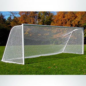 "Model #M88WRD4824. 8' x 24' soccer goal with standard wheels and 4"" round frame."
