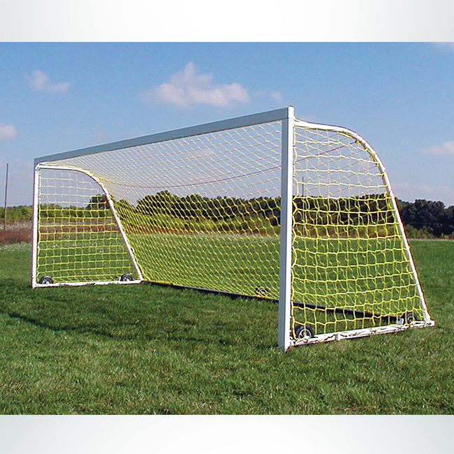 Model #M88W824. 8' x 24' ultimate wheeled soccer goal with yellow net.