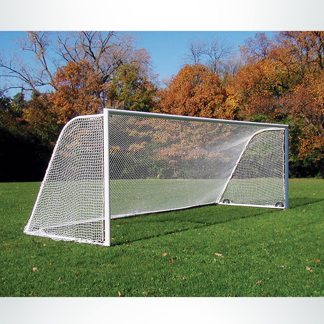 "Model #M88WRD48241. 8' x 24' Soccer Goal with Standard Wheels and 4"" Round Frame."