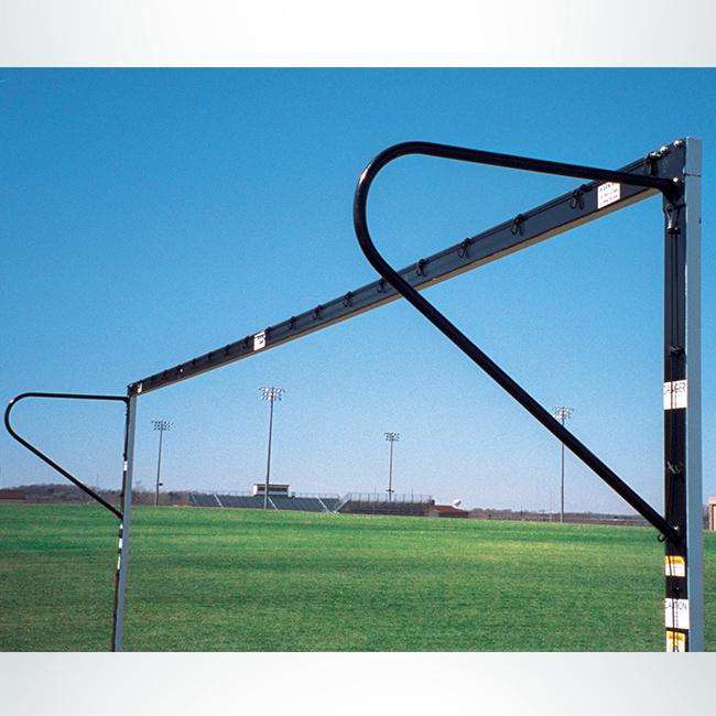 Model #P824EW. European backstay on semi-permanent steel soccer goal.