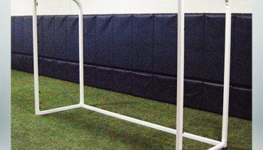 "Model #SGEFUTSALCABPC. Futsal goal with 2"" square aluminum frame with cable net attachment."