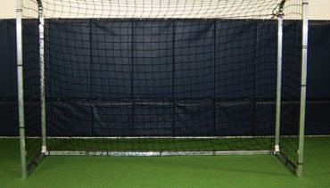 "Model #SGEFUTSAL. Futsal goal with 2"" square aluminum frame and Velcro net attachment."
