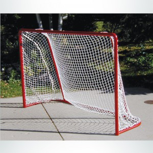 Model #SS64IS. Small sided Soccer Goal with Red Frame and White Net.