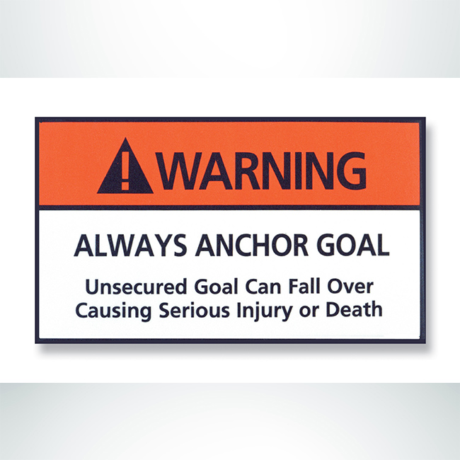Model #STICK1.Movable Soccer Goal Warning Label. Always Anchor Goal.