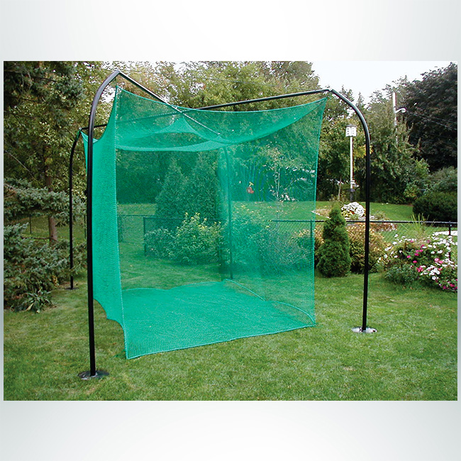 Model #1299GCNHP. Backyard Golf Cage with Green Net and Black Poles.