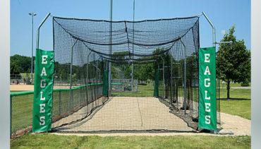 Model #BCTEN70P. Outdoor modular tension batting cage for baseball.