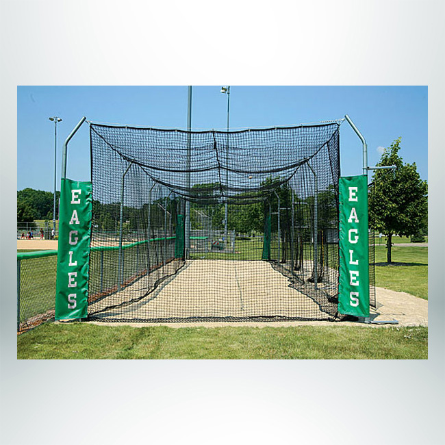 Model #BCTEN70P. Outdoor modular tension batting cage for baseball.