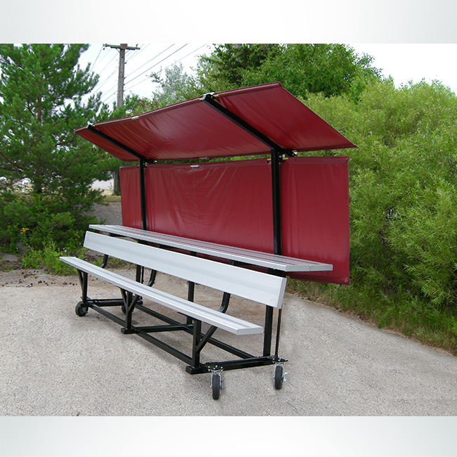 Model #BD15DS. Bench Defender with Double Shelf Aluminum Bench with Wheels.