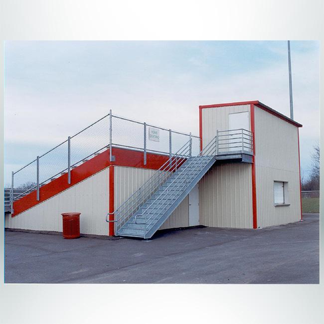 Model # Bleacher storage enclosure, space under bleachers, red, beige