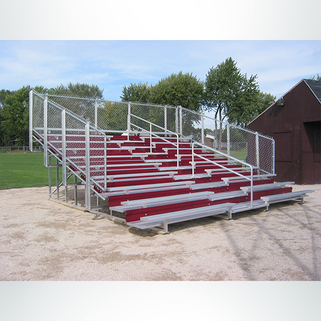 Model #BR10R191GR. 10 row bleachers with red risers and railings.