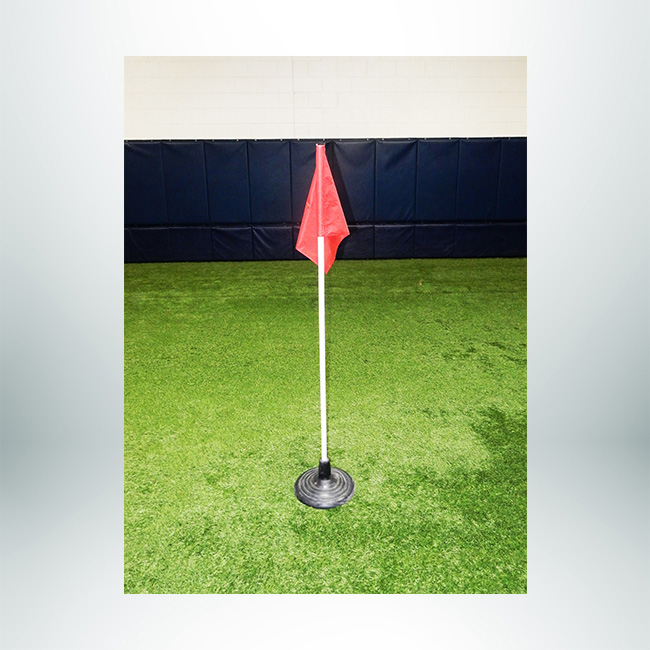 Model #CFOLRB. Corner flag with heavy duty rubber base for use on turf fields.