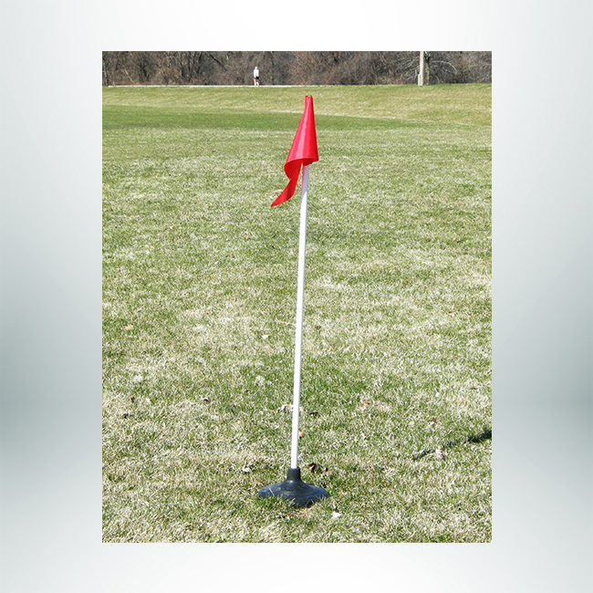 Model #CFORB. Corner Flag with Rubber Base for Use on Turf Fields.