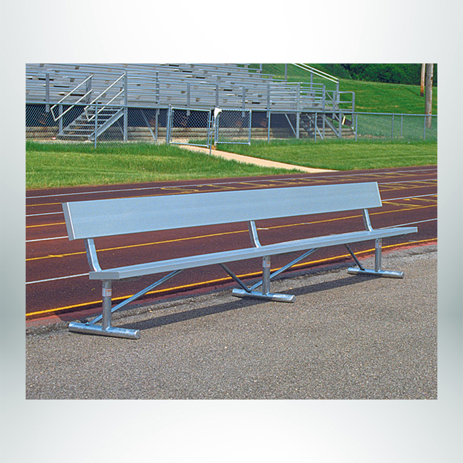 Model #GBSP15B. Aluminum Team Bench with Backrest.