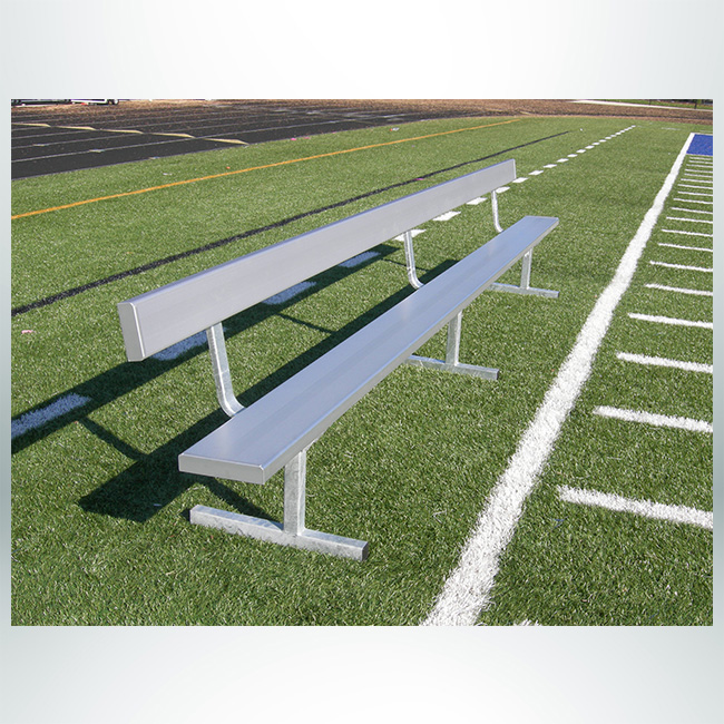 Model #GBSPBJW. 15' Aluminum Free Standing Players Bench with Backrest.