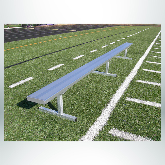 Model #GBSP15JW. 15' aluminum free standing player bench without backrest.