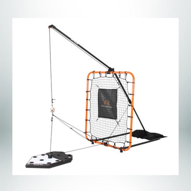 Model #GLR. Goalrilla Baseball Spring Trainer. Orange Frame, Black Net.