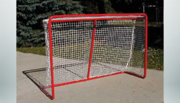 Model #HG100. Hockey Goal with Powder Coated Red Frame and White Net.