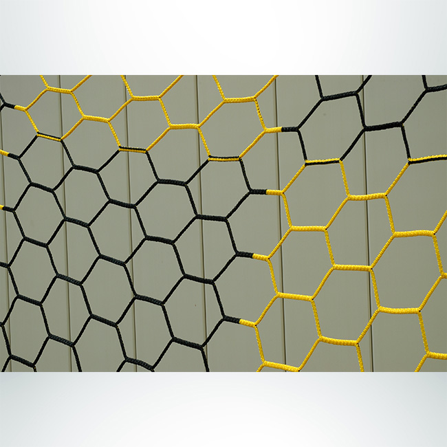 Model #NPHEX4082466HP. 8' x 24' box style checkered soccer net, black and gold.