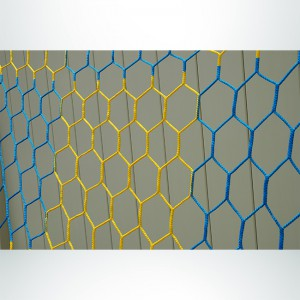Model #NPHEX4082466. 8'x24' Blue and Gold Box-Style Checkered Soccer Net, Hexagonal Mesh.