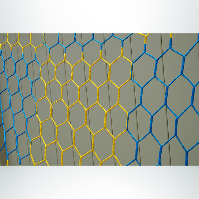 Model #NPHEX4082466. 8' x 24' blue and gold box-style checkered soccer net, hexagonal mesh.