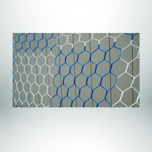 Model #NPHEX4082466HP. Box Style, Checkered Soccer Net, Hexagonal, Blue and White.