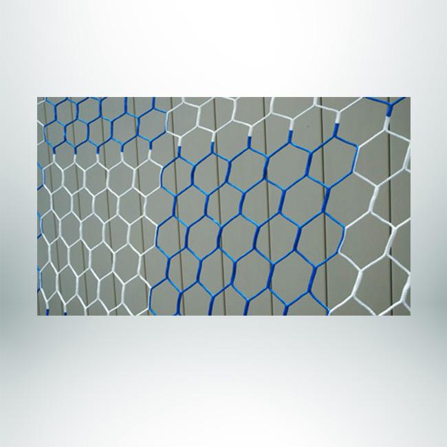 Model #NPHEX4082466HP. Box style checkered soccer net, hexagonal, blue and white.