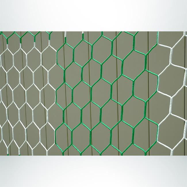 Model #NPHEX4082466HP. Box style, checkered soccer net, hexagonal, green and white.