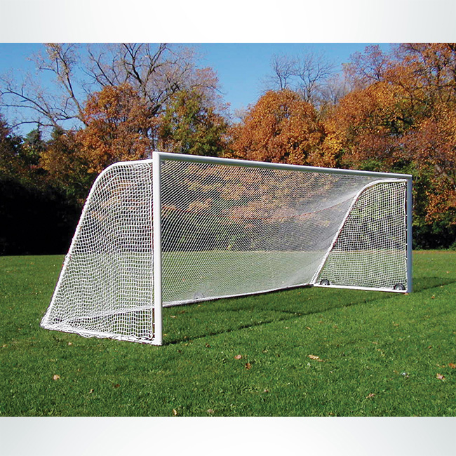 "Model #NP230824410HP. 8' x 24' soccer net, 4"" mesh, white."