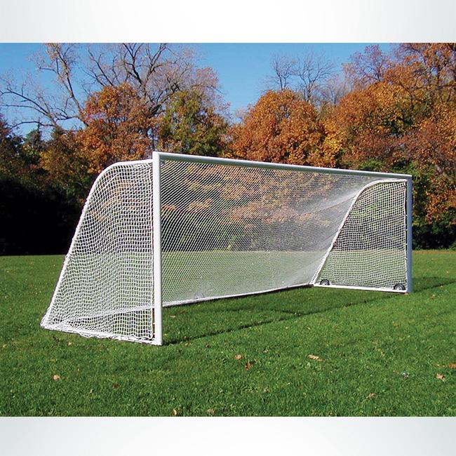 """Model #NP230824410HP. 8' x 24' soccer net, 2"""" mesh, white."""