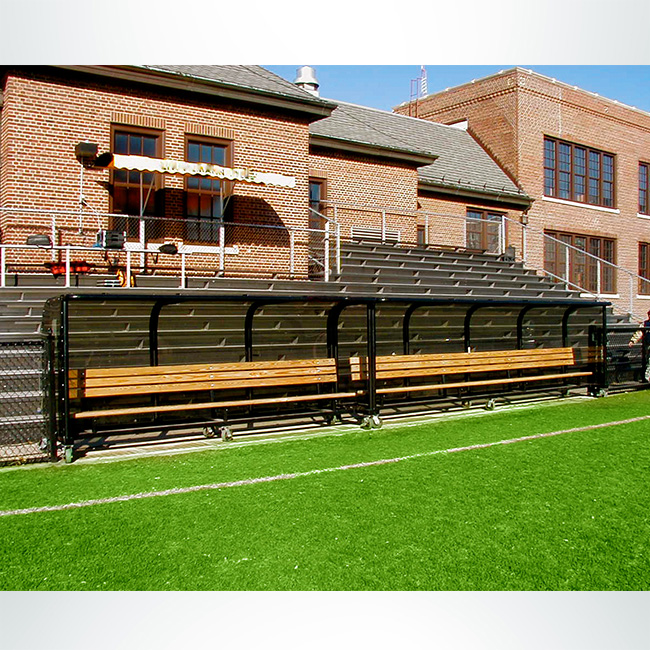Custom black players shelter with wooden benches.