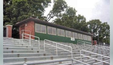 Press box and stadium bleachers.