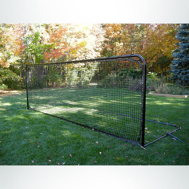 """Model #SG2R6618. Heavy duty soccer rebounder for backyard training. 6'6"""" x 18', black net with black frame."""