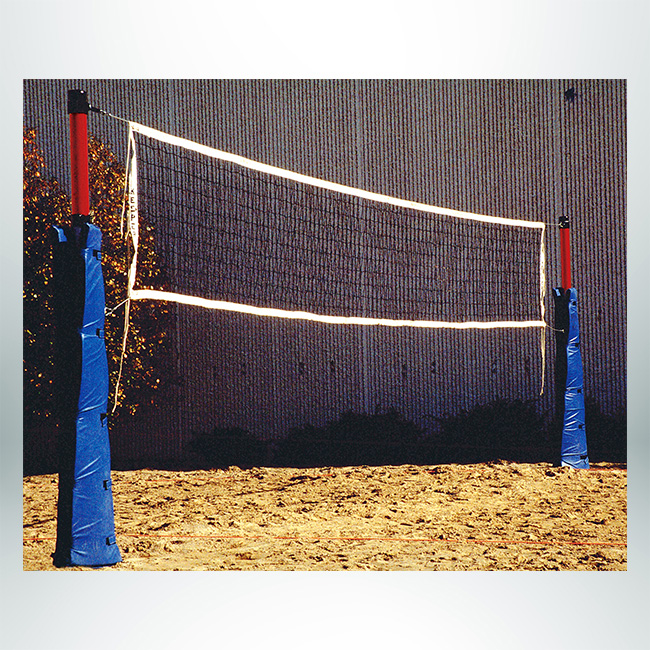 Model #XHD3 outdoor standard volleyball net, white outside, black net