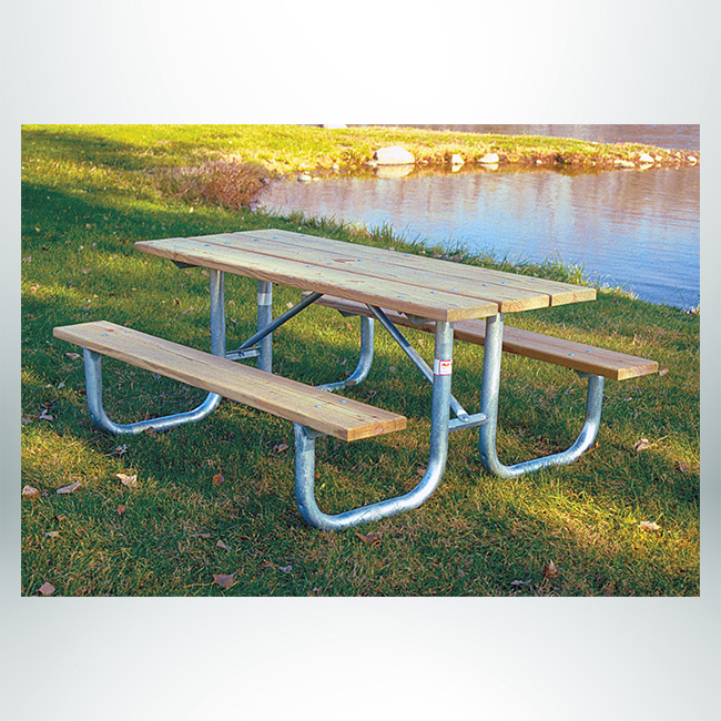 Model #XTG8TP. Picnic Table with Wood Top and Aluminum Legs.